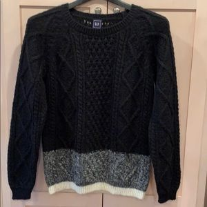 Gap Mohair Blend Black Cable Knit Sweater small